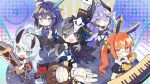 6+girls :d antenna_hair bella_(honkai_impact) black_hair black_headwear blood_embrace blue_eyes book_of_fuxi chibi closed_mouth concert eye_mask full_body glasses guitar highres holding holding_instrument honkai_(series) honkai_impact_3rd horns index_finger_raised instrument long_hair looking_at_viewer lying lyre multiple_girls navel official_art on_back open_mouth orange_eyes piano purple_hair selune's_elegy short_sleeves sleeping sleeveless smile standing tesla_zero twintails water's_edge white_hair
