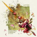 1other artist_name bound brown_hair commentary english_commentary english_text falling_petals fantasy flower gradient gradient_background light_particles open_mouth original petals pink_flower simple_background sinlaire sword trapped weapon weapon_focus weapon_request white_background