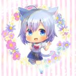 1girl :d ahoge animal_ear_fluff animal_ears bangs black_skirt blue_eyes blue_flower blush bow cat_ears cat_girl cat_tail commentary_request eyebrows_visible_through_hair floral_background flower grey_hair grey_shirt hair_between_eyes hands_up kou_hiyoyo looking_at_viewer open_mouth original pink_flower pleated_skirt puffy_short_sleeves puffy_sleeves purple_flower red_bow sailor_collar school_uniform serafuku shirt shoes short_sleeves skirt smile solo standing standing_on_one_leg striped striped_background tail thigh-highs uwabaki vertical_stripes white_background white_footwear white_legwear white_sailor_collar