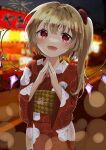 1girl :d alternate_costume bangs blonde_hair blurry blurry_background blush bokeh bow commentary_request cowboy_shot crystal depth_of_field eyebrows_visible_through_hair fireworks flandre_scarlet floral_print hair_bow hands_up happy highres kamachi_(kamati0maru) long_sleeves looking_at_viewer market_stall night no_hat no_headwear one_side_up open_mouth outdoors red_bow red_eyes short_hair smile solo steepled_fingers touhou wide_sleeves wings