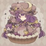 1girl argyle argyle_background bangs blunt_bangs bow crescent crescent_pin food full_body grey_background hair_bow hat highres long_hair long_sleeves looking_at_viewer mob_cap multiple_bows nikorashi-ka open_mouth patchouli_knowledge polka_dot polka_dot_bow purple_hair solo star_(symbol) star_print touhou triangle_mouth very_long_hair