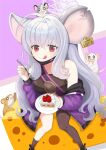1girl :p animal_ears animal_on_head blue_archive breasts cake casual cheese closed_mouth ear_tag food grey_hair halo highres jacket looking_at_viewer mask medium_breasts mouse_ears mouse_tail mouth_mask on_head plate rat red_eyes saya_(blue_archive) shorts simple_background solo tail tennorikurenai tongue tongue_out
