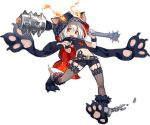 1girl animal_ears animal_hood ark_order artist_request bangs belt black_cape black_footwear black_scarf black_shirt black_shorts cape cerberus_(ark_order) chain club_(weapon) cuffs dog_ears fake_animal_ears fire fur-trimmed_footwear garter_straps holding holding_weapon hood hood_up hooded_cape looking_at_viewer official_art paw_shoes pawpads red_eyes scarf shackles shirt shoes short_hair shorts skull solo spiked_belt tachi-e thigh-highs transparent_background weapon white_hair wrist_cuffs