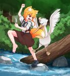 1girl anger_vein animal_ear_fluff animal_ears asymmetrical_hair bangs barefoot bird black_footwear black_neckwear blonde_hair brown_skirt brown_vest bush collared_shirt commentary_request cookie_(touhou) eyebrows_visible_through_hair feathers fighting forest fox_ears fox_girl fox_tail full_body head_bump highres holding holding_feather log medium_hair miramikaru_riran nature necktie open_mouth outdoors pelican red_eyes river rock shirt shoes short_sleeves sidelocks single_shoe skirt tail tree vest water white_shirt yan_pai