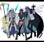 1girl 2boys ahoge artoria_pendragon_(caster)_(fate) artoria_pendragon_(fate) black_gloves black_hair blonde_hair blood blood_on_face boots cape command_spell crown fate/grand_order fate_(series) fujimaru_ritsuka_(male) gloves glowing glowing_eyes highres insect_wings multiple_boys nesui_sui oberon_(fate) polar_chaldea_uniform silver_hair staff thigh-highs thigh_boots white_background wings