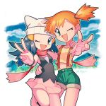 2girls :d beanie blue_eyes blue_hair boots breasts commentary commentary_request cowboy_shot dawn_(pokemon) green_eyes hair_ornament hand_on_another's_hip hand_on_another's_shoulder hat knee_up long_hair looking_at_viewer misty_(pokemon) multiple_girls one_eye_closed open_mouth orange_hair pink_footwear pokemon pokemon_(anime) scarf short_hair shorts side_ponytail skirt smile suspender_shorts suspenders torachika_(gichi2_necktie) v