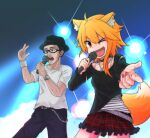 1boy 1girl ahoge alternate_costume animal_ear_fluff animal_ears asymmetrical_hair bangs belt belt_collar black_headwear black_pants black_shirt black_skirt blonde_hair brown_belt camisole chain character_request collar commentary_request cookie_(touhou) cowboy_shot eyebrows_visible_through_hair fang fox_ears fox_girl fox_tail frilled_skirt frills highres holding holding_microphone jewelry lens_flare long_sleeves looking_afar looking_at_viewer medium_hair microphone miramikaru_riran necklace one_eye_closed open_mouth pants plaid plaid_skirt red_eyes red_nails red_skirt shirt sidelocks skirt smile studded_belt sweat tail torn_clothes torn_shirt watch watch white_shirt yan_pai