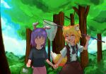 2girls :3 :d ahoge animal_ear_fluff animal_ears asymmetrical_hair bangs belt black_belt black_neckwear black_shirt blonde_hair blue_sky blush breasts brown_skirt brown_vest bush butterfly_net closed_mouth clouds collared_shirt commentary_request cookie_(touhou) cowboy_shot day eyebrows_visible_through_hair fake_hisui_(cookie) fang forest fox_ears fox_girl fox_tail hair_between_eyes hand_net highres holding_butterfly_net holding_hands looking_at_another medium_hair miramikaru_riran mob_face multiple_girls nature necktie open_mouth outdoors pink_skirt purple_hair reisen_udongein_inaba shirt short_sleeves sidelocks skirt sky small_breasts smile tail touhou tree vest white_shirt yan_pai