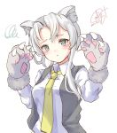 1girl adapted_costume animal_ear_fluff animal_ears animal_hands asymmetrical_hair bangs black_vest dated dress_shirt flipped_hair gloves grey_eyes highres kantai_collection long_sleeves necktie nowaki_(kancolle) official_alternate_costume one-hour_drawing_challenge paw_gloves pen_chou shirt signature silver_hair simple_background solo swept_bangs upper_body vest white_background white_shirt wolf_ears yellow_neckwear