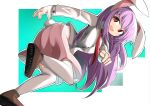 1girl :d animal_ears ass bangs blue_background breasts bright_pupils brown_footwear buck_teeth eyebrows_behind_hair from_behind large_breasts long_hair necktie open_mouth outline pink_skirt purple_hair rabbit_ears rabbit_tail red_eyes red_neckwear reisen_udongein_inaba round_teeth shirt simple_background skirt smile solo spam_(spamham4506) tail teeth thigh-highs touhou twisted_torso upper_teeth very_long_hair white_background white_legwear white_outline white_pupils white_shirt wing_collar