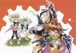 1990s_(style) 1boy 3girls araizumi_rui lina_inverse multiple_girls naga_the_serpent official_art retro_artstyle scan slayers