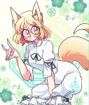 1girl animal_ear_fluff animal_ears bangs blonde_hair blush breasts cropped_legs english_commentary eyebrows_visible_through_hair floral_background fox_ears fox_shadow_puppet fox_tail green_background green_ribbon hair_between_eyes highres jumpsuit kudamaki_tsukasa littlecloudie looking_to_the_side medium_breasts octagon ribbon slit_pupils smile solo squatting tail touhou white_jumpsuit white_sleeves yellow_eyes