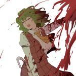 1girl arm_garter ascot blood blood_on_clothes blood_on_face blood_splatter breasts cropped_legs eyebrows_visible_through_hair green_hair hair_between_eyes holding holding_umbrella kazami_yuuka large_breasts long_sleeves looking_to_the_side open_mouth parasol plaid plaid_skirt plaid_vest red_eyes shirt short_hair shundou_heishirou simple_background skirt solo touhou umbrella upper_teeth vest white_background white_shirt yellow_neckwear