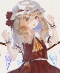 1girl :o absurdres alternate_hair_length alternate_hairstyle ascot bangs blonde_hair claw_pose commentary_request cowboy_shot crystal eyebrows_visible_through_hair fang flandre_scarlet frilled_shirt_collar frills hair_between_eyes hands_up hat hat_ribbon highres long_hair looking_to_the_side mob_cap open_mouth puffy_short_sleeves puffy_sleeves red_ribbon red_skirt red_vest ribbon short_sleeves simple_background skin_fang skirt solo touhou vest white_background white_headwear wings wrist_cuffs yellow_eyes yellow_neckwear yoruyoru_(ersu4883)