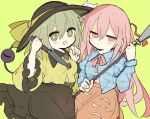 2girls 76gpo :/ :d bangs black_headwear blue_shirt blush bow breasts bright_pupils closed_mouth clothing_cutout eyebrows_visible_through_hair feet_out_of_frame frills green_background green_eyes green_hair hair_between_eyes hand_up hands_up hat hat_bow hata_no_kokoro holding holding_knife holding_polearm holding_spear holding_weapon jitome knife komeiji_koishi long_sleeves looking_at_viewer mask mask_on_head medium_breasts multiple_girls open_mouth orange_skirt pink_bow pink_eyes pink_hair pink_neckwear plaid plaid_shirt polearm shirt short_hair simple_background skirt smile spear third_eye touhou weapon wide_sleeves wing_collar yellow_bow yellow_shirt