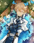 1boy armor blonde_hair bug butterfly closed_eyes guilty_gear hair_between_eyes highres ky_kiske lying nature short_hair waketeru99