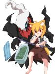 1girl animal_ears asymmetrical_hair bangs barefoot black_neckwear blonde_hair brown_skirt brown_vest collared_shirt commentary_request cookie_(touhou) covering_mouth darkrai eyebrows_visible_through_hair food foot_out_of_frame fox_ears fox_girl fox_tail hand_over_own_mouth highres holding holding_pole looking_at_viewer medium_hair miramikaru_riran mythical_pokemon necktie pokemon pole red_eyes shirt short_sleeves sidelocks simple_background skirt tail tupperware vest white_background white_shirt yan_pai