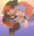2boys alternate_universe blue_hair boyfriend_(friday_night_funkin') carrying f_n_f_pbp_m friday_night_funkin' hat jumping orange_hair pico_(pico's_school) scared sweat