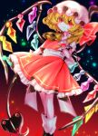 1girl \||/ ascot bangs blonde_hair blurry blush bow center_frills closed_mouth commentary_request crystal depth_of_field eyebrows_visible_through_hair fang fang_out feet_out_of_frame flandre_scarlet flat_chest frills gradient gradient_background hair_between_eyes hand_up hat hat_bow highres holding holding_weapon laevatein_(touhou) light_particles looking_at_viewer mob_cap nail_polish one_side_up petticoat puffy_short_sleeves puffy_sleeves red_background red_bow red_eyes red_nails red_skirt red_vest short_sleeves simple_background skin_fang skirt smile solo touhou vest weapon white_headwear wings wrist_cuffs yellow_neckwear yuka_yukiusa