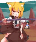 2girls animal_ears asymmetrical_hair bangs black_footwear black_hair black_neckwear black_skirt blonde_hair blood blue_shirt brown_skirt brown_vest collared_shirt commentary_request cookie_(touhou) cowboy_shot eyebrows_visible_through_hair eyes_visible_through_hair fox_ears fox_girl fox_tail glasses highres holding holding_pole looking_at_viewer medium_hair miramikaru_riran multiple_girls necktie open_mouth pole red-framed_eyewear red_eyes riina_(cookie) shirt shoes short_sleeves sidelocks sketch skirt tail torn_clothes vest white_shirt yan_pai