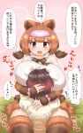1girl 1other alternate_breast_size animal_ears arm_around_neck arm_around_waist bangs barefoot bear_ears bear_girl between_breasts between_legs black_hair blush bow bowtie bracelet breast_smother breasts brown_eyes brown_hair captain_(kemono_friends) collarbone extra_ears eyebrows_visible_through_hair face_to_breasts fur-trimmed_legwear fur_bracelet fur_trim head_between_breasts headband heart highres hug huge_breasts jewelry kemono_friends kemono_friends_3 kodiak_bear_(kemono_friends) looking_at_another medium_hair mikan_toshi multicolored_hair mutual_hug open_mouth pink_bow shirt short_hair short_sleeves short_twintails skirt sleeveless sleeveless_shirt smile thigh-highs translation_request twintails two-tone_hair unaligned_breasts waist_hug zettai_ryouiki