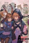 1boy 6+girls amiya_(arknights) animal_ears arknights arm_grab ascot beret black_headwear black_jacket black_legwear blue_neckwear blue_skirt brown_hair cat_ears cellphone chinese_commentary coat commentary cotton cover cover_page cowboy_shot doctor_(arknights) doujin_cover dragon_horns dress drill_hair facing_away fur-trimmed_coat fur_trim green_dress green_eyes green_hair grey_hair grin hair_between_eyes hand_up hat highres holding holding_phone hood hood_up horns id_card jacket leopard_ears long_hair long_sleeves looking_at_another looking_back multiple_girls off-shoulder_dress off_shoulder open_clothes open_jacket orange_hair oripathy_lesion_(arknights) pantyhose phone pleated_skirt ponytail red_jacket rhodes_island_logo shirt short_hair silverash_(arknights) skirt smartphone smile white_shirt yellow_eyes