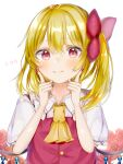 1girl ascot bangs blonde_hair blush bow closed_mouth commentary_request crystal eyebrows_visible_through_hair fingers_to_cheeks flandre_scarlet flat_chest floral_background flower hair_between_eyes hair_bow nail_polish nano_(nazuna0512) no_hat no_headwear one_side_up purple_nails red_bow red_flower red_rose red_vest rose short_hair simple_background smile solo touhou upper_body vest white_background wings yellow_neckwear