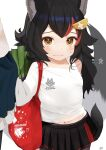 1girl animal_ears bag bangs black_hair black_skirt blush brown_eyes closed_mouth commentary_request cowboy_shot eyebrows_visible_through_hair hair_ornament hairclip highres hololive leek long_hair long_sleeves looking_at_viewer midriff_peek multicolored_hair navel nejime off_shoulder ookami_mio out_of_frame pleated_skirt redhead shirt shoulder_bag simple_background skirt solo_focus standing streaked_hair sweatdrop tail tail_raised virtual_youtuber white_background white_shirt wolf_ears wolf_girl wolf_tail