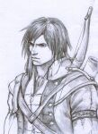 1boy arm_strap assassin's_creed_(series) assassin's_creed_iii bangs bow_(weapon) braid coat connor_kenway highres male_focus monochrome open_clothes open_coat quiver shirt short_hair single_braid traditional_media upper_body weapon zhizhi_(wizardtsutsu)