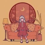 1girl ahoge bangs black_footwear brown_background couch crescent_moon dress earrings egasumi grey_eyes grey_hair hairband highres jewelry lamp leaf long_hair long_sleeves moon original pillow plant potted_plant purple_hairband red_dress shadow shoes sitting solo yoshi_mi_yoshi