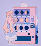 1girl artist_name astronomy bishoujo_senshi_sailor_moon blue_background cloud_print constellation double_bun highres long_hair meyoco moon moon_phases print_skirt rabbit shoes signature simple_background skirt solo standing tsukino_usagi twintails vending_machine very_long_hair white_footwear