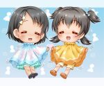 2girls :d =_= akagi_miria bangs black_footwear black_hair blue_bow blue_skirt bow brown_footwear bunny_hair_ornament closed_eyes eyebrows_visible_through_hair facing_viewer frilled_skirt frills hair_between_eyes hair_bow hair_ornament hairclip idolmaster idolmaster_cinderella_girls low_twintails motion_lines multiple_girls open_mouth parted_bangs poncho regular_mow sandals sasaki_chie shoe_soles shoes short_hair shorts skirt smile twintails two_side_up yellow_shorts