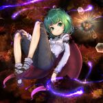 1girl antennae bangs black_cape black_shorts blush breasts brown_background brown_footwear cape closed_mouth collared_shirt commentary full_body green_eyes green_hair highres looking_at_viewer mary_janes misoup99916 red_cape shirt shoes short_hair shorts small_breasts smile socks solo touhou two-sided_cape two-sided_fabric white_legwear white_shirt wriggle_nightbug