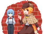 2girls animal_ear_fluff animal_ears bangs belt black_belt black_neckwear black_pants blonde_hair blue_eyes blue_hair bow bowtie breasts brick_wall brown_headwear brown_skirt brown_vest bubble bubble_pipe closed_mouth collared_shirt commentary_request cookie_(touhou) cowboy_shot expressionless eyebrows_visible_through_hair fang fox_ears fox_girl fox_tail hair_bow highres holding_magnifying_glass looking_at_viewer magnifying_glass medium_breasts medium_hair miramikaru_miran miramikaru_riran multiple_girls necktie open_mouth pants red_bow red_eyes red_neckwear shirt skirt smile suspenders tail vest white_shirt yan_pai