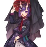 1girl bangs blush bob_cut breasts eyeliner fate/grand_order fate_(series) hanbok headpiece highres horns korean_clothes long_sleeves looking_at_viewer makeup oni oni_horns open_mouth purple_hair short_hair shuten_douji_(fate) skin-covered_horns small_breasts smile solo sookmo violet_eyes