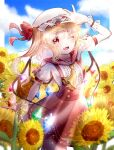 1girl :d adapted_costume arm_up ascot bangs blonde_hair blurry blurry_foreground boppaku_tama bow breasts center_frills clouds cloudy_sky commentary_request contrapposto cowboy_shot day depth_of_field dress eyebrows_visible_through_hair fang field flandre_scarlet flower flower_field frills hair_between_eyes hat hat_bow lens_flare light_rays looking_at_viewer medium_hair mob_cap one_eye_closed one_side_up open_mouth outdoors pillarboxed pointy_ears puffy_short_sleeves puffy_sleeves red_bow red_dress red_eyes short_sleeves signature sky small_breasts smile solo sunflower touhou white_headwear wrist_cuffs yellow_flower yellow_neckwear