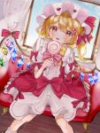 1girl :p alternate_costume bangs blonde_hair blush bow bowtie candy center_frills clothing_cutout commentary_request crystal day dress dutch_angle eyebrows_visible_through_hair feet_out_of_frame flandre_scarlet food frilled_shirt_collar frills gold_trim hat hat_bow holding holding_candy holding_food holding_lollipop indoors light_particles lollipop mob_cap nano_(nazuna0512) one_side_up puffy_short_sleeves puffy_sleeves red_bow red_eyes short_hair short_sleeves shoulder_cutout sitting solo swept_bangs tongue tongue_out touhou white_dress white_headwear window wings wooden_floor yellow_bow yellow_neckwear