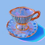 blue_background cup highres meyoco no_humans original photo-referenced plate shadow signature simple_background teacup