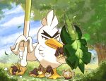 bird bright_pupils brown_eyes clouds commentary_request day galarian_farfetch'd galarian_form grass holding leaves_in_wind no_humans outdoors pokemon pokemon_(creature) shield shuri_(syurigame) sirfetch'd sky standing tree white_pupils younger