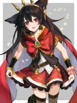 1girl animal_ears bangle bangs black_hair border bow bracelet bracer cagliostro_(granblue_fantasy) cagliostro_(granblue_fantasy)_(cosplay) cape commentary_request cosplay dress earrings erune granblue_fantasy grey_background hairband highres jewelry lace-trimmed_dress lace_trim long_hair looking_at_viewer nier_(granblue_fantasy) open_mouth outside_border raised_eyebrows red_bow red_dress red_eyes skirt_hold sleeveless sleeveless_dress solo thigh-highs white_border yuntae