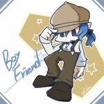 1boy alternate_costume alternate_universe blue_eyes blue_hair boyfriend_(friday_night_funkin') english_text friday_night_funkin' hat karlea overalls ponytail solo star