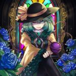 1girl adapted_costume bangs black_headwear black_legwear blue_flower blue_rose blurry bow breasts bright_pupils closed_mouth commentary_request crossed_legs depth_of_field embellished_costume floral_print flower frills green_eyes green_hair green_skirt hair_between_eyes hat hat_bow indoors komeiji_koishi light_rays long_sleeves medium_breasts medium_hair nostrils one_eye_closed pantyhose re_(re_09) rose shirt skirt solo stained_glass third_eye touhou wide_sleeves yellow_bow yellow_shirt