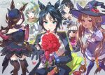 ... 6+girls agnes_tachyon_(umamusume) ahoge animal_ears ascot bangs black_dress black_gloves black_legwear blue_flower blue_rose blush bouquet bow braid breasts bug butterfly center_frills closed_mouth commentary_request dress flat_chest flower formal frills fuji_kiseki_(umamusume) gloves gold_ship_(umamusume) green_eyes hair_ornament hair_over_one_eye hairpin hamster hand_on_hip hat hat_flower highres horse_ears horse_girl horse_tail kashimoto_riko large_bow long_sleeves looking_at_viewer mini_hat multiple_girls off-shoulder_dress off_shoulder ogino_atsuki open_mouth outstretched_arm petals pointing reaching_out rice_shower_(umamusume) rose school_uniform seiun_sky_(umamusume) signature small_breasts smile sparkle spoken_ellipsis suit sunglasses sweatdrop sweep_tosho_(umamusume) tail thigh-highs tongue tongue_out tracen_school_uniform translation_request twintails twitter_username umamusume violet_eyes white_bow witch_hat yellow_eyes