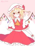 1girl :/ absurdres artist_name ascot bangs blonde_hair blush bow closed_mouth commentary_request crystal dress expressionless eyebrows_visible_through_hair feet_out_of_frame flandre_scarlet flat_chest frilled_shirt_collar frills hair_between_eyes hat hat_bow highres light_blush medium_hair mob_cap one_side_up orange_neckwear petticoat pink_background puffy_short_sleeves puffy_sleeves red_bow red_dress red_eyes red_skirt rogu_(ndmd8773) short_sleeves simple_background skirt solo touhou white_headwear wings wrist_cuffs