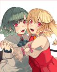 2girls :d absurdres adapted_costume armpit_crease ascot bangs blonde_hair blue_hair blue_neckwear blush border brooch clothing_cutout commentary_request dress eyebrows_visible_through_hair fangs flandre_scarlet hair_between_eyes hand_up highres hug jewelry looking_at_viewer multiple_girls no_hat no_headwear one_side_up open_mouth pointy_ears puffy_short_sleeves puffy_sleeves red_border red_dress red_eyes remilia_scarlet shi_chimi short_sleeves shoulder_cutout siblings simple_background sisters slit_pupils smile teeth touhou upper_body white_background
