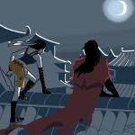 00323z 1boy 1girl boots cloak dirge_of_cerberus_final_fantasy_vii final_fantasy final_fantasy_vii gloves headband long_hair moon night rooftop short_hair smile vincent_valentine yuffie_kisaragi