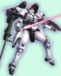 arm_cannon beam_saber green_background gundam gundam_wing highres holding holding_sword holding_weapon kimizuka_aoi mecha mobile_suit no_humans science_fiction shield sword tallgeese thrusters visor weapon