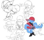 alternate_universe blue_skin boyfriend_(friday_night_funkin') closed_eyes crying friday_night_funkin' hat jacket octopus red_hat sweat tears tentacles white_background yddd93970828