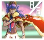 1boy argyle baseball_cap border bright_pupils cape champion_uniform closed_mouth commentary_request dark-skinned_male dark_skin dynamax_band facial_hair floating_cape fur-trimmed_cape fur_trim gloves hand_up hat highres kooeiatd111020 leon_(pokemon) long_hair looking_at_viewer male_focus pokemon pokemon_(game) pokemon_swsh purple_hair red_cape shield_print shirt short_sleeves shorts single_glove smile solo sword_print white_border white_pupils white_shorts yellow_eyes
