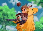 1boy animal_ears blue_eyes blue_sky brown_hair closed_mouth clouds cloudy_sky commentary green_eyes highres light_rays looking_to_the_side original outdoors rabbit_ears scarf sky solo_focus sunbeam sunlight sword sword_hilt thebrushking tree weapon yellow_feathers